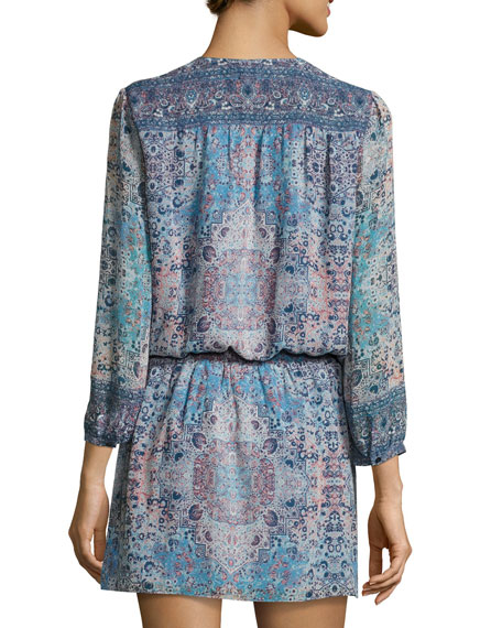 Aidee Printed Silk Dress, Blue