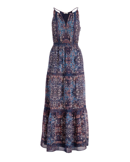 joie agnece tiered silk maxi dress, blue