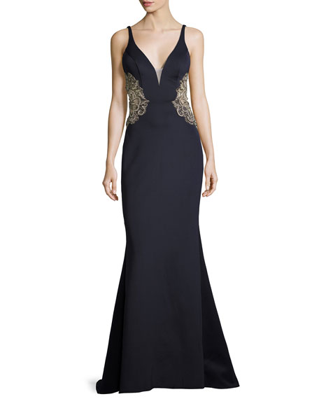 Metallic Embroidered Open-Back Mermaid Gown, Navy