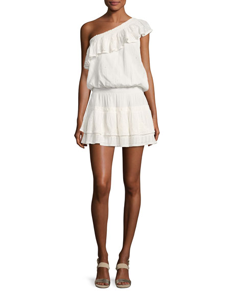Joie Kolda One-Shoulder Cotton Dress, White