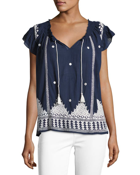 Joie Mirena Short-Sleeve Embroidered Top, Blue