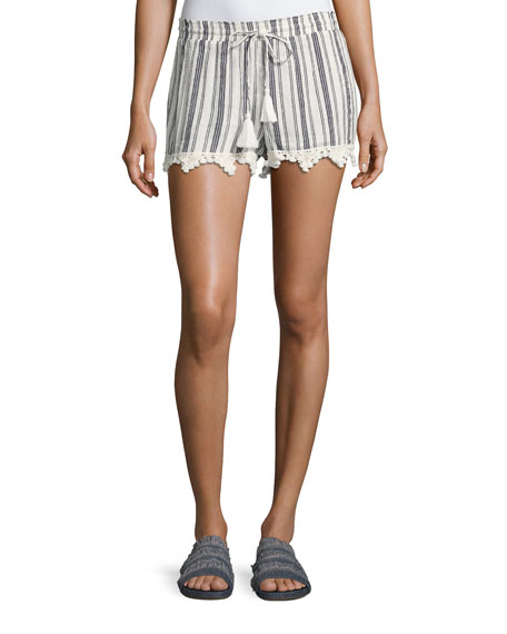 Joie Angelle Striped Tassel Drawstring Shorts, White