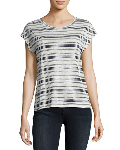 Joie Kinsley Striped Linen Top, White