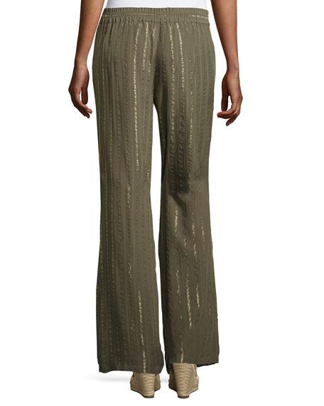 Aryn Drawstring Tassel Silk Pants, Fatigue
