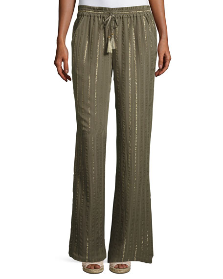 Aryn Drawstring Tassel Silk Pants, Fatigue