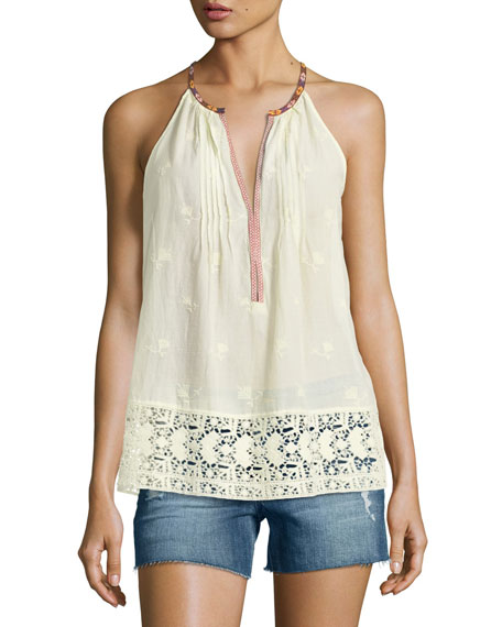 Joie Eniko O Sleeveless Embroidered Top