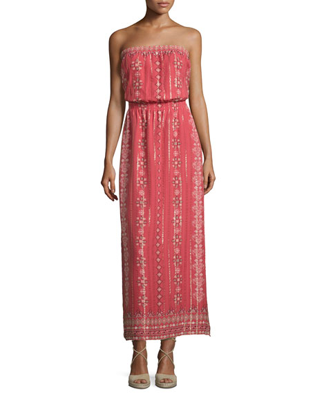 Joie Mariele Strapless Printed Maxi Dress, Terracotta Bloom
