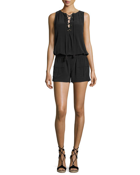 Joie Caline Sleeveless Lace-Up Silk Romper, Black