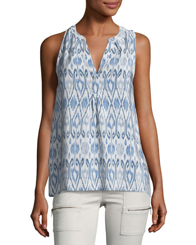 Lorette Printed Sleeveless Silk Top