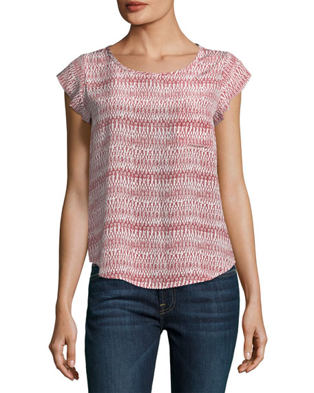 Joie Rancher Round-Neck Cap-Sleeve Silk Top