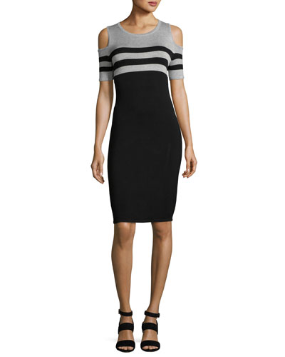 Cold-Shoulder Striped Knit Sheath Dress, Petite