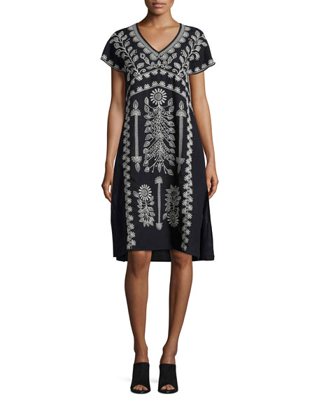 Johnny Was Jolina Easy-Fit Embroidered Linen Dress, Black,