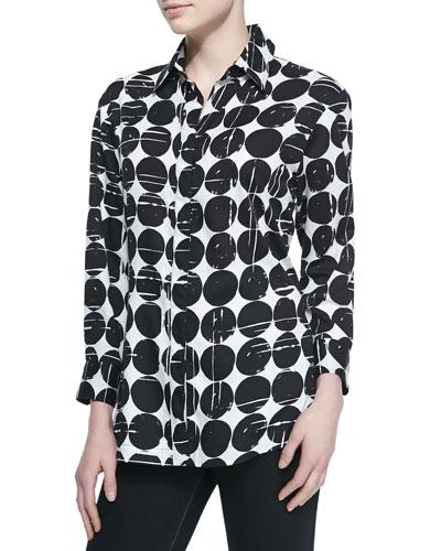 Poplin Polka-Dot Print Dress Shirt, Plus Size