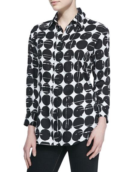 Finley Poplin Polka-Dot Print Dress Shirt, Plus Size