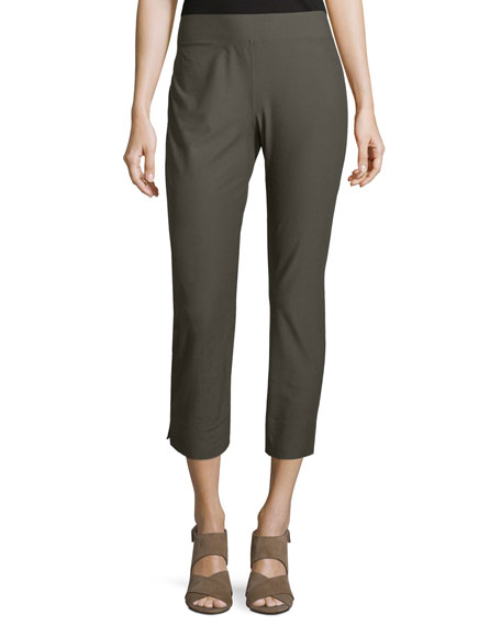 Eileen Fisher Stretch-Crepe Side-Slit Ankle Pants, Oregano