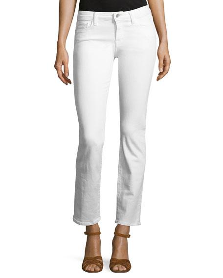 J Brand Amelia Mid-Rise Straight-Leg Jeans, White