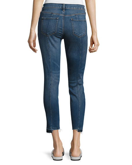 Mid-Rise Pintuck Skinny Jeans, Blue