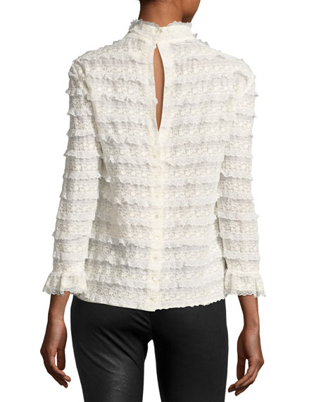 High-Neck Lace Cotton Blouse, White