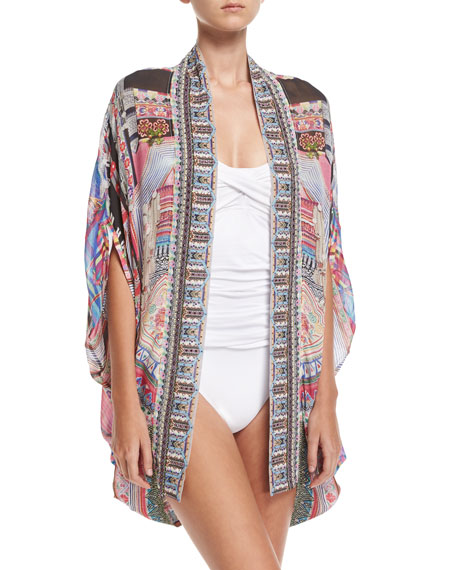 Camilla Open Front Cardi Cape Silk Coverup