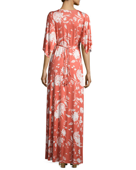 Floral-Print Caftan Maxi Dress, Chipotle Peony, Plus Size
