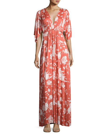 Rachel Pally Floral-Print Caftan Maxi Dress, Chipotle Peony,