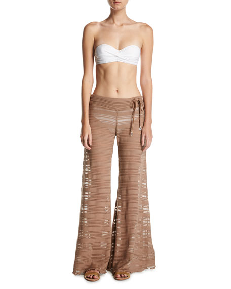 Crochet Lace Flare Beach Pants, Brown