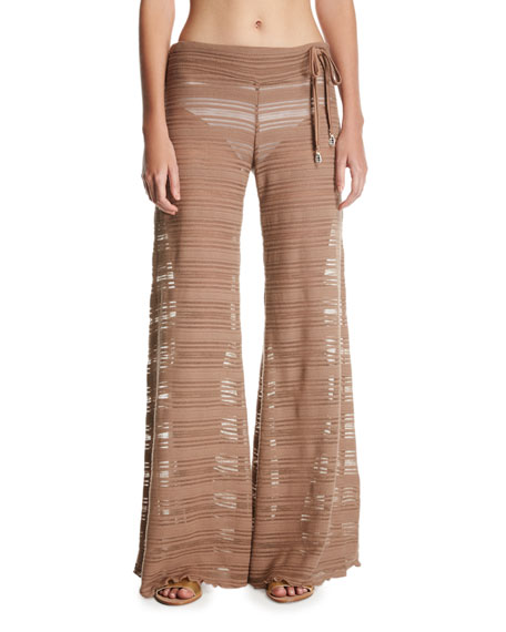 Letarte Crochet Lace Flare Beach Pants, Brown