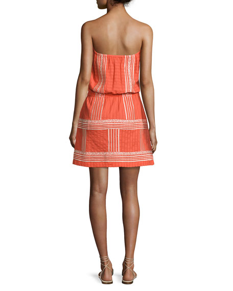 Strapless Embroidered Sun Dress, Orange