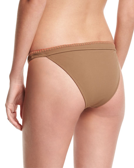 Whipstitch Solid Swim Bikini Bottom, Brown