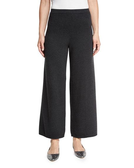 Joan Vass Wide-Leg Knit Pants, Charcoal
