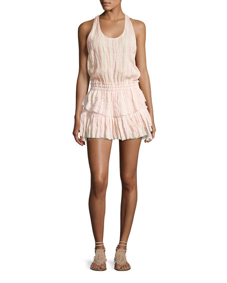 Loveshackfancy Textured Ruffle Racerback Mini Dress, Pink