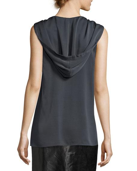 Sleeveless Stretch-Silk Hoodie, Graphite