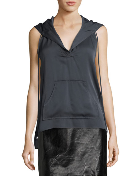 Milly Sleeveless Stretch-Silk Hoodie, Graphite