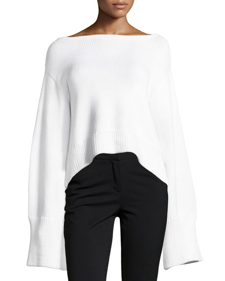 Milly Oversized Cropped Pullover Sweater, White