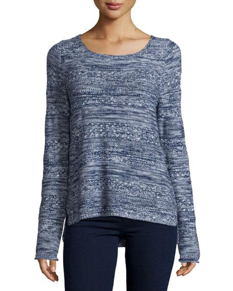 Textured Long-Sleeve Sweater, Dark Navy/Faded Sky