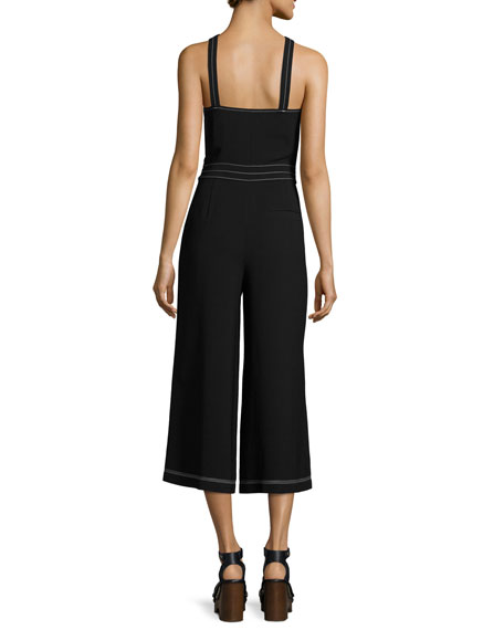 Halter-Neck Cropped Wide-Leg Jumpsuit, Black