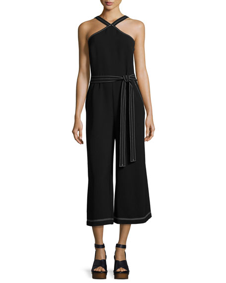 GREY Jason Wu Halter-Neck Cropped Wide-Leg Jumpsuit, Black