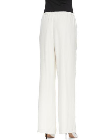 Full-Leg Silk Pull-On Pants, Petite