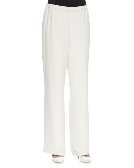 Full-Leg Silk Pull-On Pants, Petite