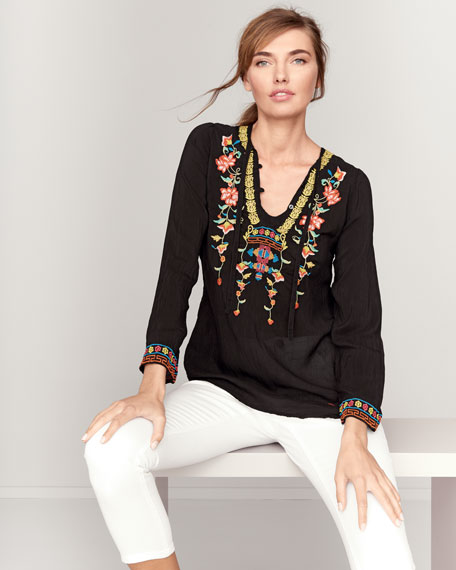 Suko V-Neck Embroidered Blouse, Petite