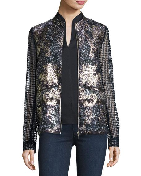 Elie Tahari Orchid Floral-Print Lace-Sleeve Jacket, Blue