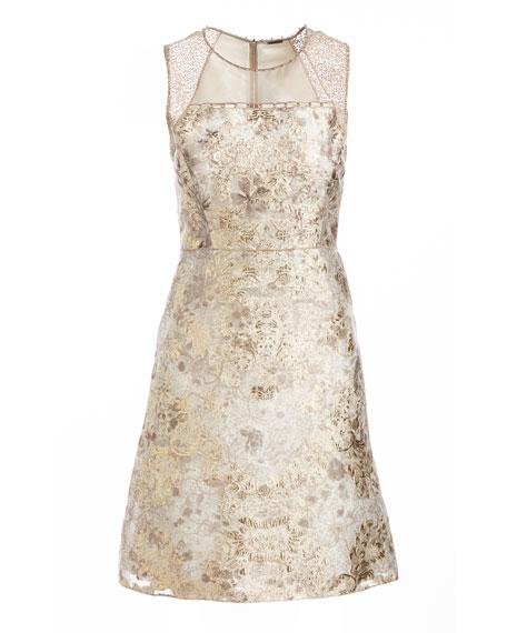 Vera Sleeveless Floral Brocade Cocktail Dress, Light Beige