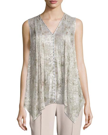 Elie Tahari Elle Sleeveless Metallic Silk-Blend Blouse