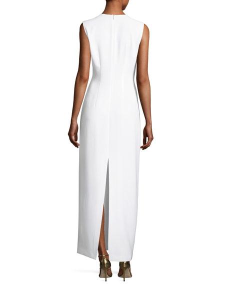 Ann Sleeveless Column Dress w/ Oversized Grommets