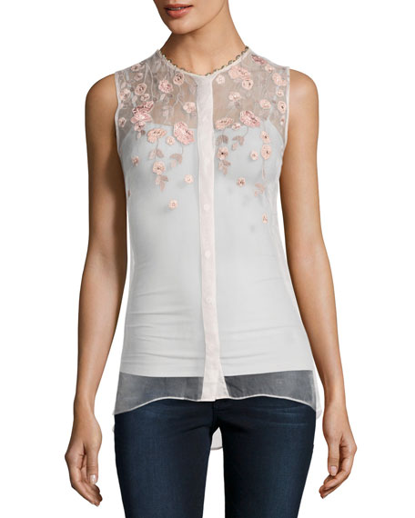 Elie Tahari Camila Sleeveless Embroidered Sheer Silk Blouse,