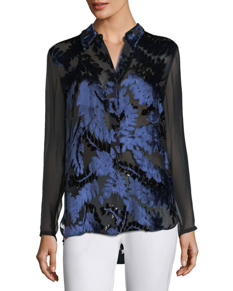 Chenille Long-Sleeve Semisheer Burnout Paisley Blouse