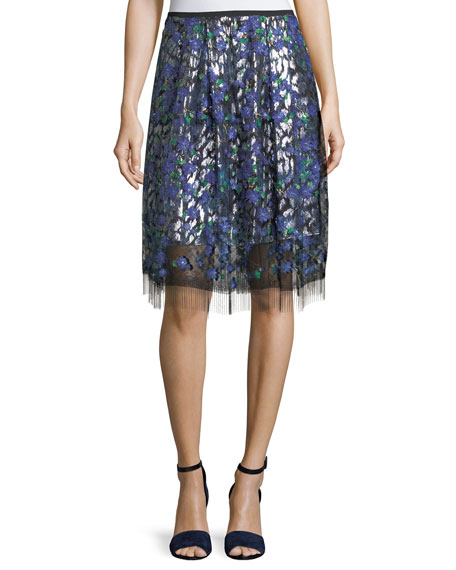 Elie Tahari Nicolette Layered Floral Applique Skirt and