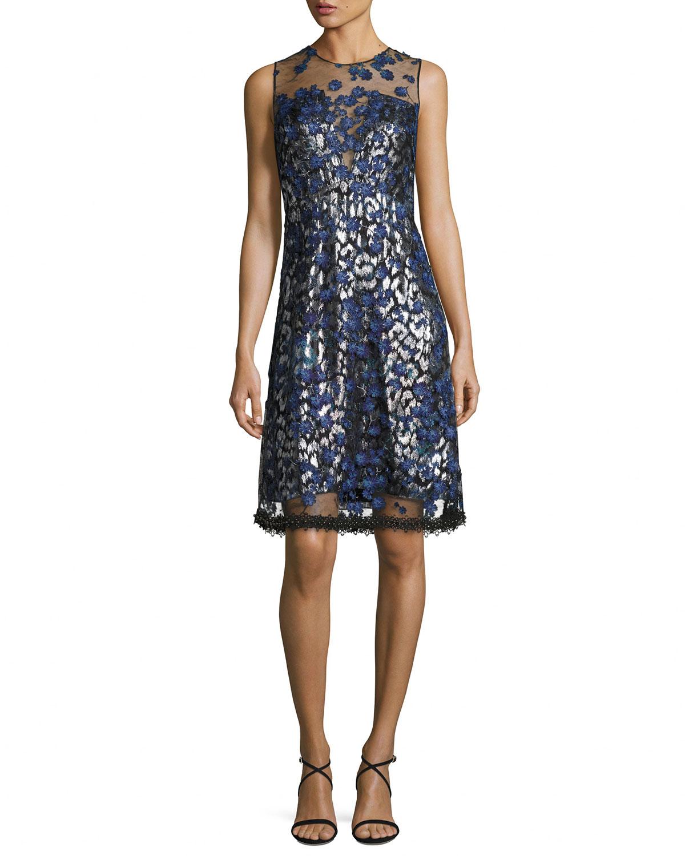 Elie Tahari Olive Sleeveless 3D Floral Applique Dress   Neiman Marcus