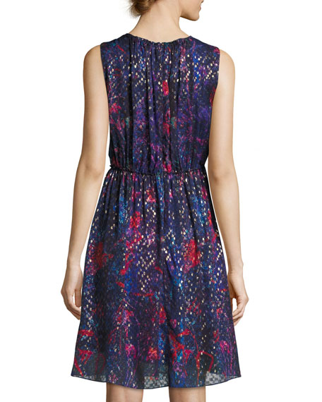 Demetria Sleeveless Printed Silk-Blend Dress