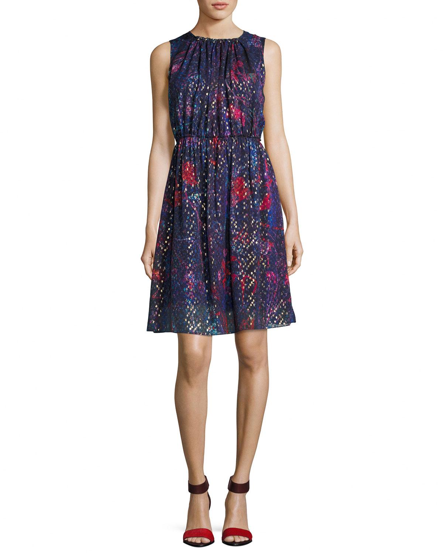 b06f1637d805 Elie Tahari Demetria Sleeveless Printed Silk-Blend Dress | Neiman Marcus